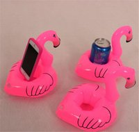 pink flamingos - 50lots Flamingo Inflatable Drink Botlle Holder Lovely Pink Floating Bath Kids Toys Christmas Gift For Kids jy300