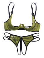 Wholesale Shelf Bra Open seat Crothless Thong New Bra Sets Panty Sequin Floral Exotic Sexy Clothing No Pasties Green Wire On Adaptable Straps Ouvert