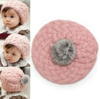 Wholesale 2016 New Design children caps kids New Fashion sweet cute baby hats girls Little princess ball wool hat MZ004