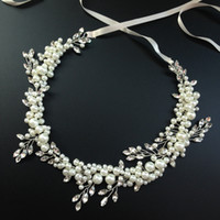 beaded clear rhinestones - Pearl Hair Vine Wedding Crown Hand Wired Headband Tiara Crystal Beaded Bridal Headpiece New Arrival Wedding Hair Accessories