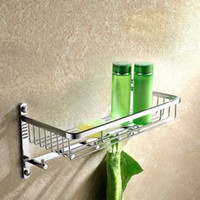 bathroom shower shelving - Wall Mounted Chrome Finish Brass Bathroom Shower Basket Shelf With Hook Up Basket Holder Shelves Rectangle Shape Accessories