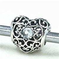 Signature Sterling Silver Mars Bead Charm Authentic 925 Coeur avec cristaux synthétiques Aqua Bleu Bijoux européenne Fit Collier Bracelets