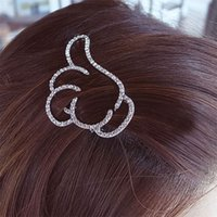Wholesale New Fashion Korean Hollow Crystal Thumbs Finger Hairpins Hair Clips Girls Hair Accessories for Women Headwear