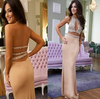 art deco india - Shiny Heavy Material Two Pieces Sexy Mermaid Prom Dresses Floor Legnth Women Nigeria India Style Bling Bling Backless Prom Dress