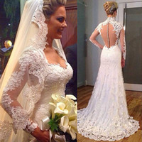 beach turkey - 2016 Greek Style Lace Wedding Dresses Turkey Long Sleeve V neck Sweep Train Covered Button Mermaid Bridal Gowns With Free Lace Long Veil