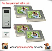 apartment building video intercom system - Four Units Apartment Building Color Video Door Phone Intercom System Visitor Photo Memory Also support SD card photo storage