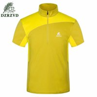 Wholesale DZRZVD New Summer Outdoors Men Women Lapel Quick Dry T Shirts Sports Hiking Camping Climbing Breathable Suncreen Short Sleeve