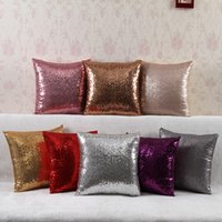 Wholesale Hot Plain Color Satin Sequined Cushion Covers Fashion Sparkly Throw Pillow Covers Home Decorative Pillows Without Insert Sofa Bed Pillows