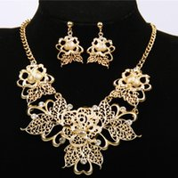 Wholesale Short Selling In Europe And America Hollow Flower Diamond Necklace Earrings Suit Female Dunhuang Supply SJTL