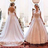 absolute custom - DE bono for fantasy absolute long sleeved dress Arabic wedding dress lace applique plus size and train