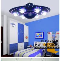 art ufo - New Creative Led Chandelier UFO Cartoons Children s Bedroom Pendant Remote Control Chandeliers Study Lustre Living Room Lighting Silver Blue