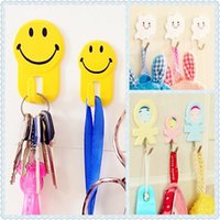 Wholesale Wall decor smile clouds doll hook up Wall hooks racks Clothes hat Hanger Bedroom Kitchen Bathroom strong adhesive stick hook