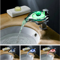 Wholesale water powered high quality luxury color change waterfall led basin faucet mixer tap no need battery