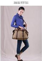 army duffle - 2016 Women Vintage Retro Canvas Leather Weekend Shoulder Bag Duffle Travel Tote Bag fashion handbag bags for women