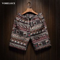 Wholesale Men s beach shorts personality printing summer thin section breathable comfort casual men s linen shorts large size M XL