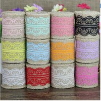 Wholesale Drop shipping M Natural Jute Burlap Hessian Ribbon with Lace Trims Tape Rustic Wedding Decor wedding gift Wrapping Hair bow material