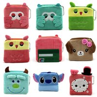 Wholesale 2016 New Multifunction Coin Purses For kids Minions Square Clutch Bags Colors Supersoft Short Plush Women Mini Wallets Pouch