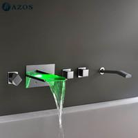 Wholesale AZOS Bathtub Faucets LED Chrome Polished Wall Mount Hot Cold Mixer Sprayer Showerheads Handles Diverter Valves YGWJ013