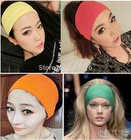 Wholesale 10 New Fashion inch Women Colored Wide Yoga Headband Stretch Hairband Elastic Hair Bands Turban