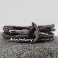 anchor chain length - LOW0220LB New Arrival Vintage Retro Hope Anchor Colors PU Leather Bracelet Classic Style cm Length Gift