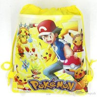 Wholesale 50pcs Poke go Pikachu drawstring Bags style NEW Children cartoon Poke Ball Backpacks non woven fabrics School Bags
