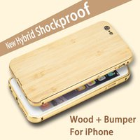 Wooden bamboo photo frames - Fashion wooden Bamboo Case For iPhone Metal Wood Hybrid Shockproof frame bumper cover For iphone6s s SE Custom Design Photos