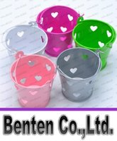 Wholesale Hollow out Romantic Heart Hot Pink Tin Pails Mini Pails Favors Mini Bucket Candy boxes favors Candy Packaging LLFA6129