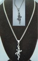 al por mayor accesorios de reptiles-El collar de plata del ahogador de los encantos del reptil del lagarto de la vendimia NecklacesPendants para el regalo de los regalos de las mujeres DIY se divierte la venta caliente NUEVO Q20