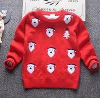 Wholesale 120 CM Santa Cloth printed double layer cotton knitted sweater Winter boys long sleeves sweaters Christmas baby clothes E543