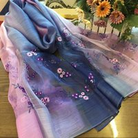 Wholesale Elegant and beautiful lady and woman embroidery chrysanthemun silk and woolen scarf shawl wrap ring pashmina amice cappa neckerchief