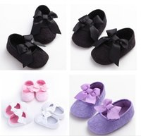 Wholesale Beautiful bow girl spring autumn shoes new baby soft bottom toddler shoes candy color months children shoes pair B3