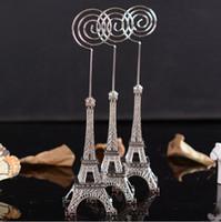 Wholesale DHL wedding gift cm Paris Eiffel Tower Brozen Place Name photo Business Card Holder message board clip