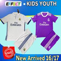 Wholesale 2017 Real madrid kids soccer jerseys Uniforms sets youth boys child kits Home White Purple RONALDO JAMES BALE ISCO football shirts