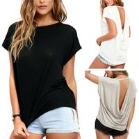 Wholesale New Arrivals Women s Lady s Sexy Tops T Shirts Cotton Blend Backless Short Sleeve Loose Summer Casual Fashion ED601