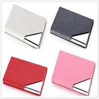Wholesale 2016 Fashion new Business Card Files Stainless steel grade PU card case aluminum creative business card holder Desk Accessories A0252