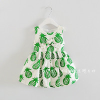 Cheap PrettyBaby 2016 summer green girls dresses pineapple printed fruit style cotton sleeveless bow girls clothes free shipping