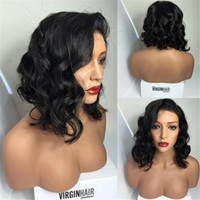 Wholesale 2016 New Bob silk top full lace wigs lace front wigs unprocessed brazilian black human hair silk base bob wig glueless wig
