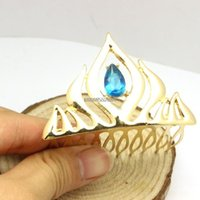 animated crowns - 3D Animated Movie Elsa K Gold Plated Blue Crystal Crown Tiaras Hair Combs Christmas Gifts Top Grade Fashion Women Hair Jewelry