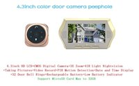 Wholesale 4 inch digital video peephole door camera doorbell viewer eye support nightvision motion detection X zoom