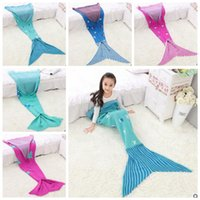 acrylic beds - Kids Mermaid Tail Blankets Christmas Mermaid Blankets Mermaid Cocoon Costume Mermaid Bedding Wrap Sleeping Bags Air Condition Blankets B1326