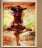 artist dresses - Top Skills Artist Handpainted Wearing A Red Wedding Dress Oil Painting High Quality On Canvas For Room Decoration Unframed