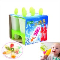 Wholesale 6 Cell Ice Cream DIY Tools Pop Mold Popsicle Molds ICE CREAM MAKER Tubs Lolly Mould Tray Pan Kitchen Cooking tools