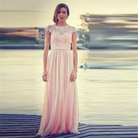 beautiful woman art - 2016 Hot Selling Beautiful A line Short Sleeve Floor Length Evening Dress for Women Chiffon Lace Vestido De Festa Formal Pageant