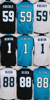 Wholesale Luke Kuechly Cam Newton Greg Olsen Stitched Jerseys Number Panthersded Blue Black White Free Drop Shipping
