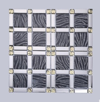 Wholesale Fashion exquisite glass mosaic silver black interior wall decoration bedroom living room TV background wall D