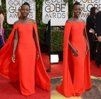 Wholesale Red Capet Celebrity Dress Golden Globe Award Lupita Party Dresses sexy Fancy Cape Cloak Bateau Trumpet Evening Gowns