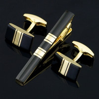bar cufflinks - High Quality Cuff Links Necktie Clip For Wedding Jewelry Tie Pin For Men s Gift Golden Tie Bars Cufflinks Tie Clip Set Z