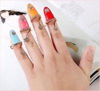 Wholesale Finger Nail Ring Rhinestone Flower Crystal Nail Art Crystal Rhinestone Women Finger Tip Rings Nail Art Rings