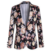 Wholesale New Brand Men Fashion cotton printed casual blazer jacket men wedding dress plus size M XL