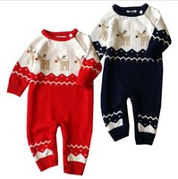 Wholesale New Autumn Rompers New Born Baby Jumpsuits Deer Cotton piece Knitted Christmas Deer Romper Kids Warm Clothes Jacquard Dobby